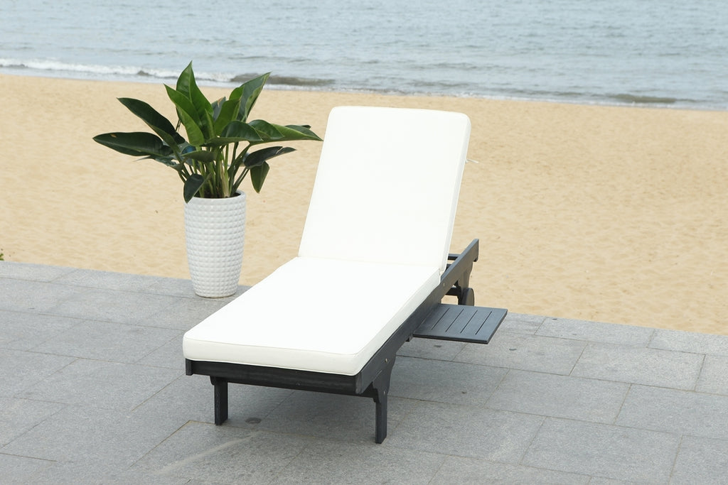 Safavieh Newport Chaise Lounge Chair with Side Table Black White Wood Eucalyptus Wood Polyester Foam Galvanized Steel PAT7022G
