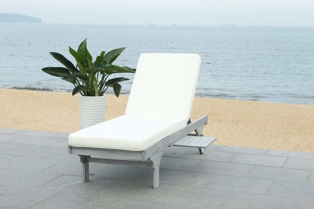 Safavieh Newport Chaise Lounge Chair with Side Table Ash Grey White Wood Eucalyptus Wood Polyester Foam Galvanized Steel PAT7022H