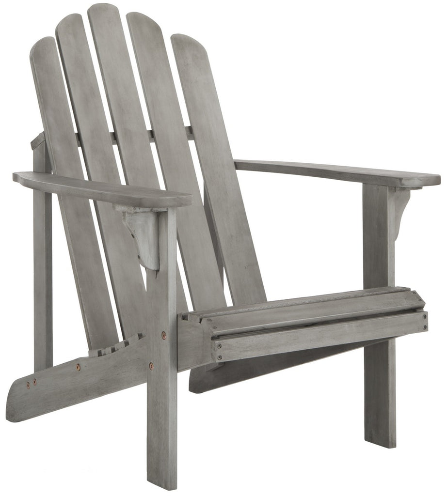 Safavieh Topher Adirondack Chair Grey Wash Silver Eucalyptus Wood Galvanized Steel PAT7027B 889048318724