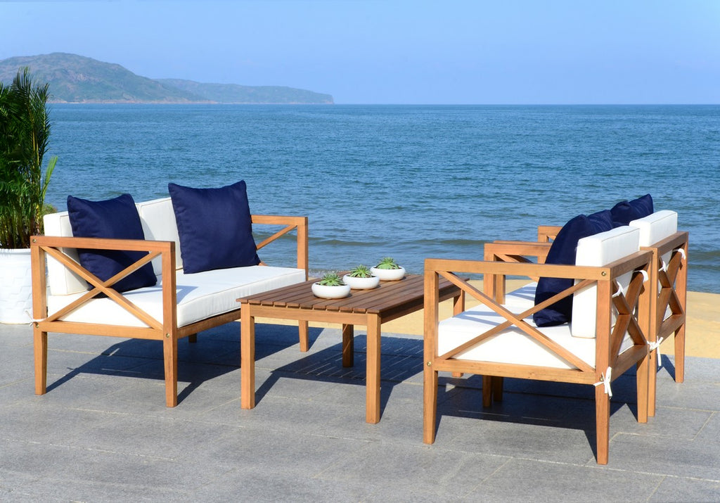 Safavieh Nunzio Outdoor Set with Accent Pillows 4 Piece Teak White Navy Silver Eucalyptus Wood Polyester Foam Galvanized Steel PAT7031A 889048319080
