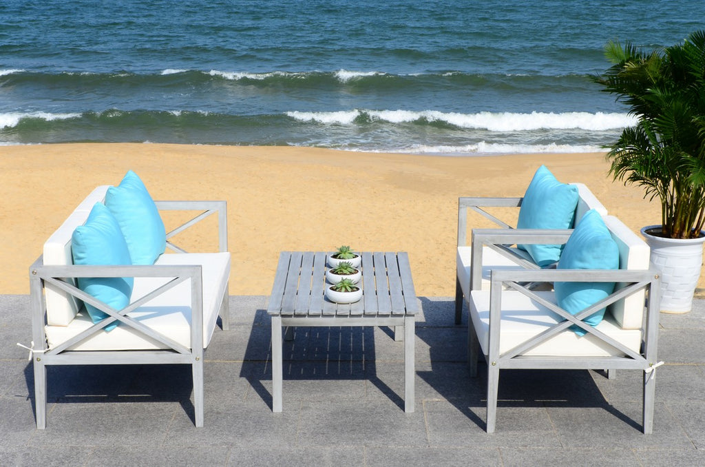 Safavieh Nunzio Outdoor Set 4 Piece Grey Wash White Light Blue Silver Eucalyptus Wood Polyester Foam Galvanized Steel PAT7031B 889048319097