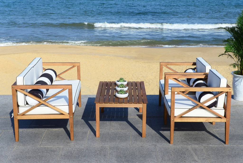 Safavieh Nunzio Outdoor Set with Accent Pillows 4 Piece Teak Black White Silver Eucalyptus Wood Polyester Foam Galvanized Steel PAT7031C 889048367555