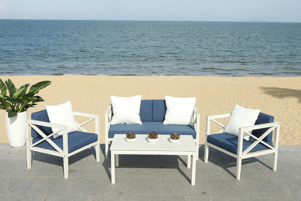 Safavieh Nunzio 4 Piece Outdoor Set with Accent Pillows White Navy Wood Eucalyptus Wood Polyester Foam Galvanized Steel PAT7031D