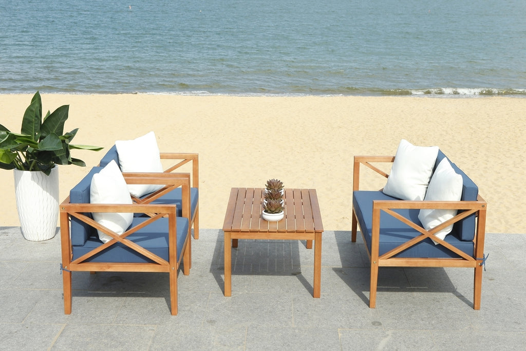 Safavieh Nunzio 4 Piece Outdoor Set with Accent Pillows Natural Navy Wood Eucalyptus Wood Polyester Foam Galvanized Steel PAT7031E
