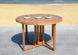"Safavieh Wales 47.24"" Dining Table Round Teak Silver Eucalyptus Wood Galvanized Steel PAT7036A 889048319509"