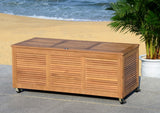 "Safavieh Elina Cushion Box 47.2"" Teak Silver Eucalyptus Wood Galvanized Steel PAT7038A 889048319622"