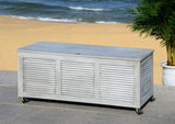 "Safavieh Elina Cushion Box 47.2"" Grey Wash Silver Eucalyptus Wood Galvanized Steel PAT7038B 889048319639"