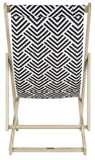 Safavieh Rive Sling Chair Foldable White Wash Navy Silver Eucalyptus Wood Polyester Foam Galvanized Steel PAT7039A 889048319646
