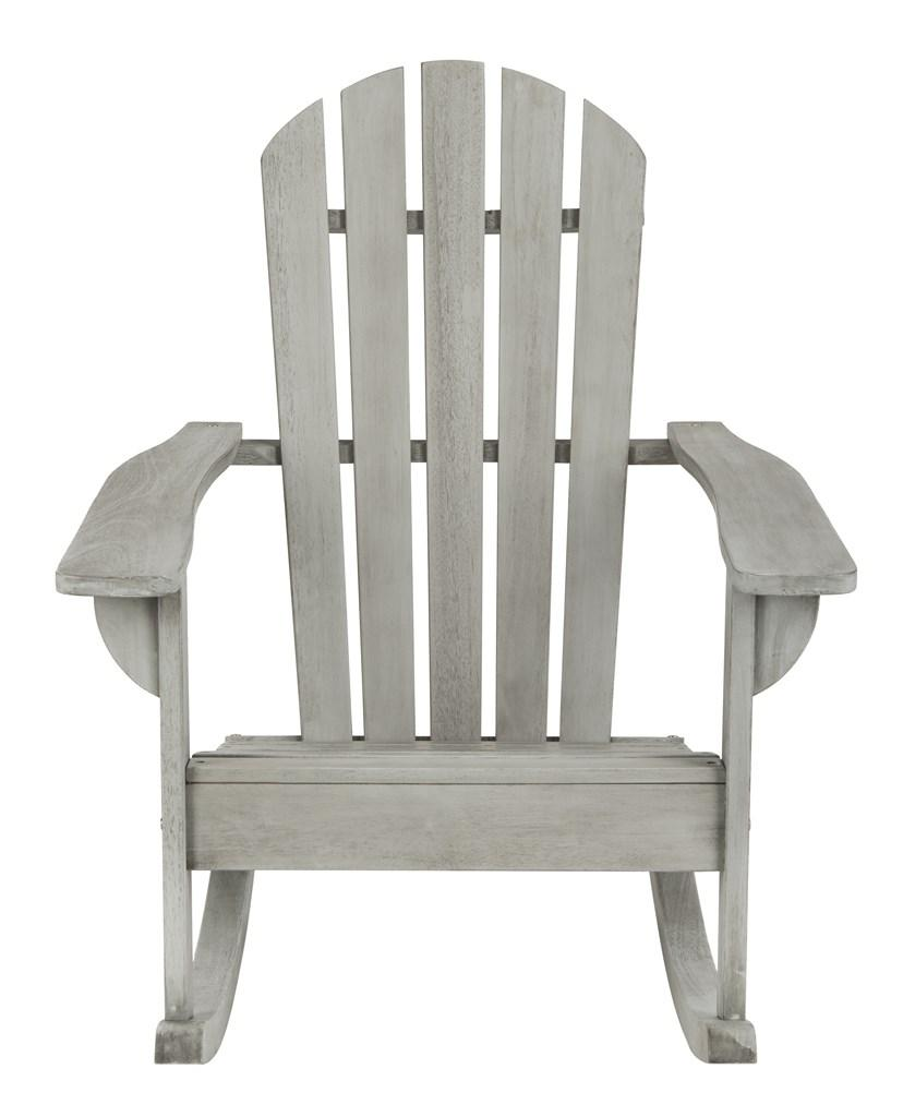 Safavieh Brizio Rocking Chair Adirondack Grey Wash Silver Eucalyptus Wood Galvanized Steel PAT7042B 889048320604