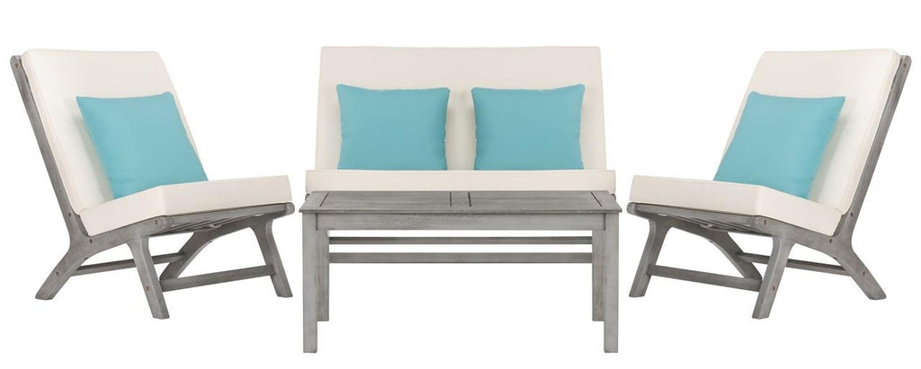 Safavieh Chaston Outdoor Living Set 4 Piece Grey Wash White Light Blue Silver Eucalyptus Wood Polyester Foam Galvanized Steel PAT7044B 889048368057