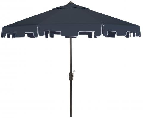 Safavieh Zimmerman Umbrella with Flap UV Resistant 9' Crank Market Auto Tilt Navy Brown Metal Hardwood Polyester Aluminum PAT8000A 889048036253