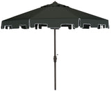 Safavieh Zimmerman Umbrella Flap UV Resistant 9' Crank Market Auto Tilt Dark Green Brown Metal Hardwood Polyester Aluminum PAT8000B 889048036260