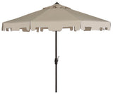 Safavieh Zimmerman Umbrella with Flap UV Resistant 9' Crank Market Auto Tilt Beige Brown Metal Hardwood Polyester Aluminum PAT8000C 889048036277