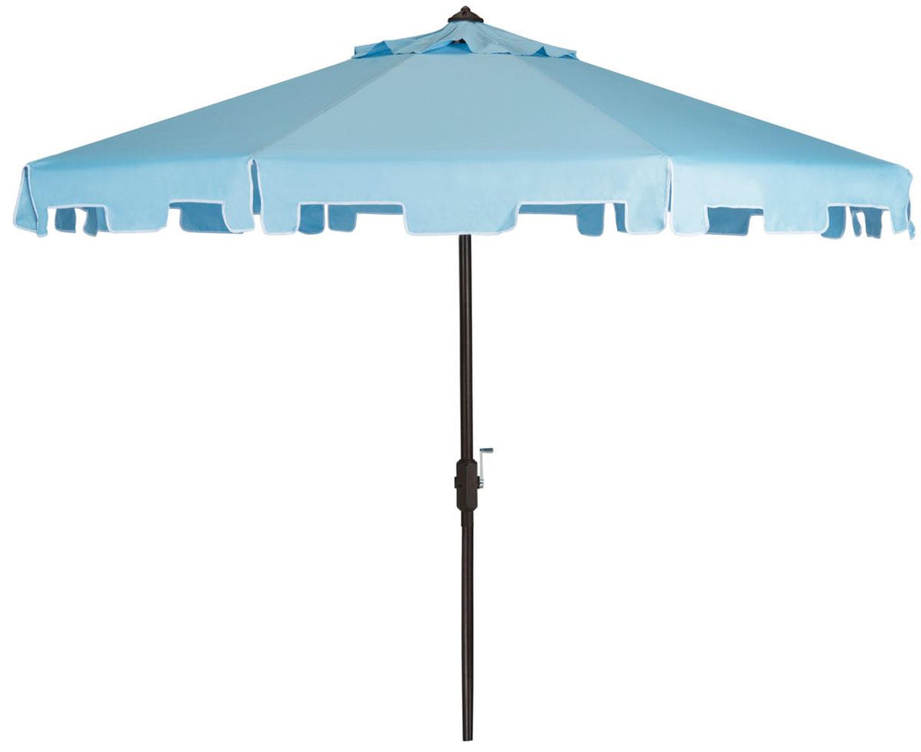 Safavieh Zimmerman Umbrella with Flap UV Resistant 9' Crank Market Auto Tilt Blue Brown Metal Hardwood Polyester Aluminum PAT8000D 889048036284
