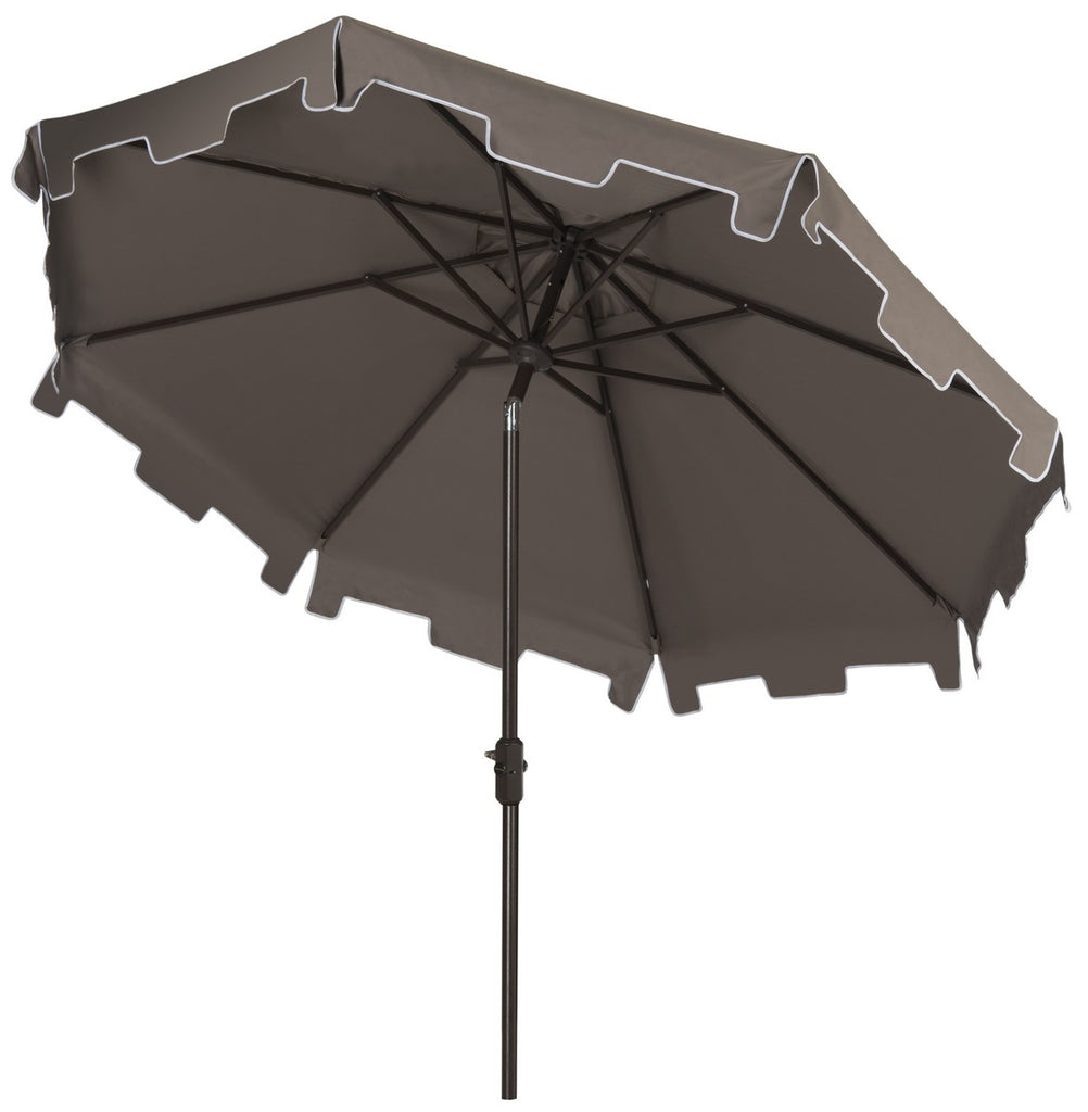 Safavieh Zimmerman Umbrella with Flap UV Resistant 9' Crank Market Auto Tilt Grey Brown Metal Hardwood Polyester Aluminum PAT8000E 889048036291