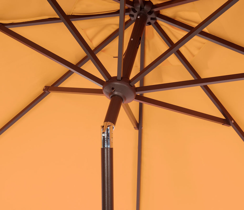 Safavieh Zimmerman Umbrella with Flap UV Resistant 9' Crank Market Auto Tilt Yellow White Brown Metal Hardwood Poly Aluminum PAT8000F 889048164703