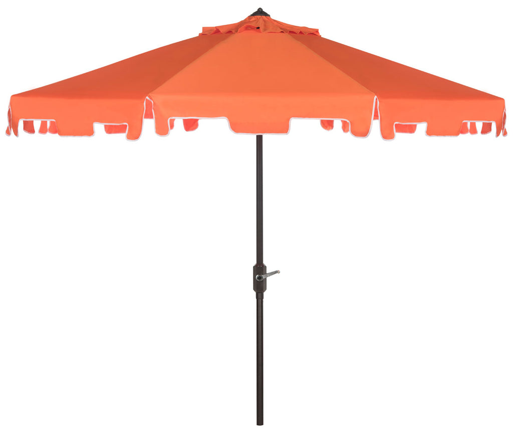 Safavieh Zimmerman Umbrella with Flap UV Resistant 9' Crank Market Auto Tilt Orange White Brown Metal Hardwood Poly Aluminum PAT8000G 889048164710