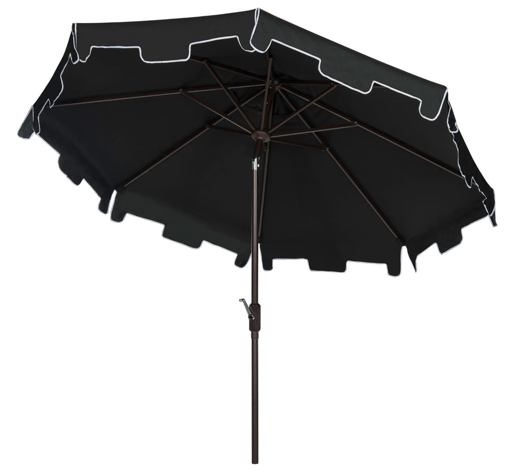 Safavieh Zimmerman Umbrella with Flap UV Resistant 9' Crank Market Auto Tilt Black White Brown Metal Hardwood Polyester Aluminum PAT8000H 889048170278