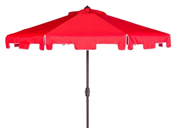 Safavieh Zimmerman Umbrella with Flap UV Resistant 9' Crank Market Auto Tilt Red White Brown Metal Hardwood Polyester Aluminum PAT8000J 889048314566