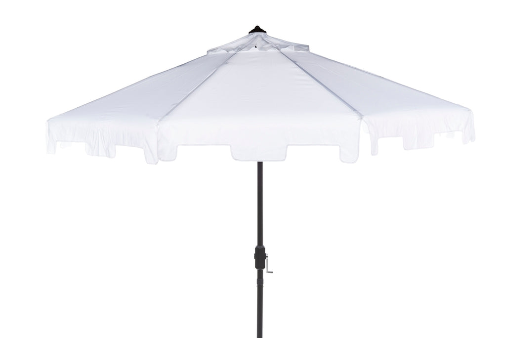 Safavieh Uv Resistant Zimmerman 9 Ft Crank Market Push Button Tilt Umbrella With Flap White Metal 100% Polyester Aluminum PAT8000K