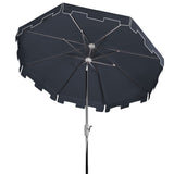 Safavieh Zimmerman 9 Ft Market Umbrella in Navy and White PAT8000L 889048710245