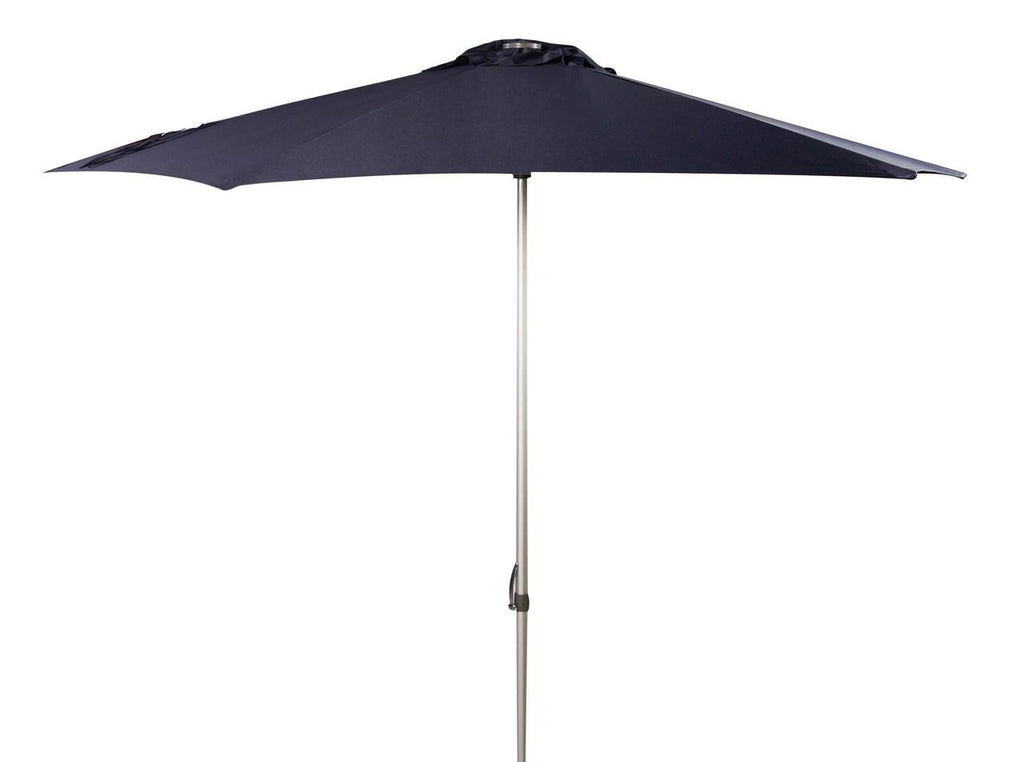 Safavieh Hurst Umbrella 9' Push Up Navy Brown Metal Fsc-Certified Hardwood Polyester Aluminum PAT8002C 889048314603