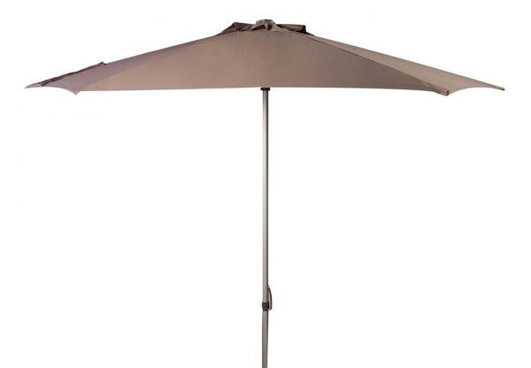 Safavieh Hurst Umbrella 9' Push Up Grey Brown Metal Fsc-Certified Hardwood Polyester Aluminum PAT8002E 889048314627