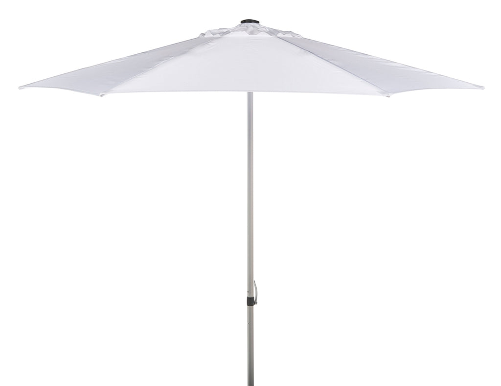 Safavieh Hurst 9 Ft Push Up Umbrella White Metal 100% Polyester Aluminum PAT8002F