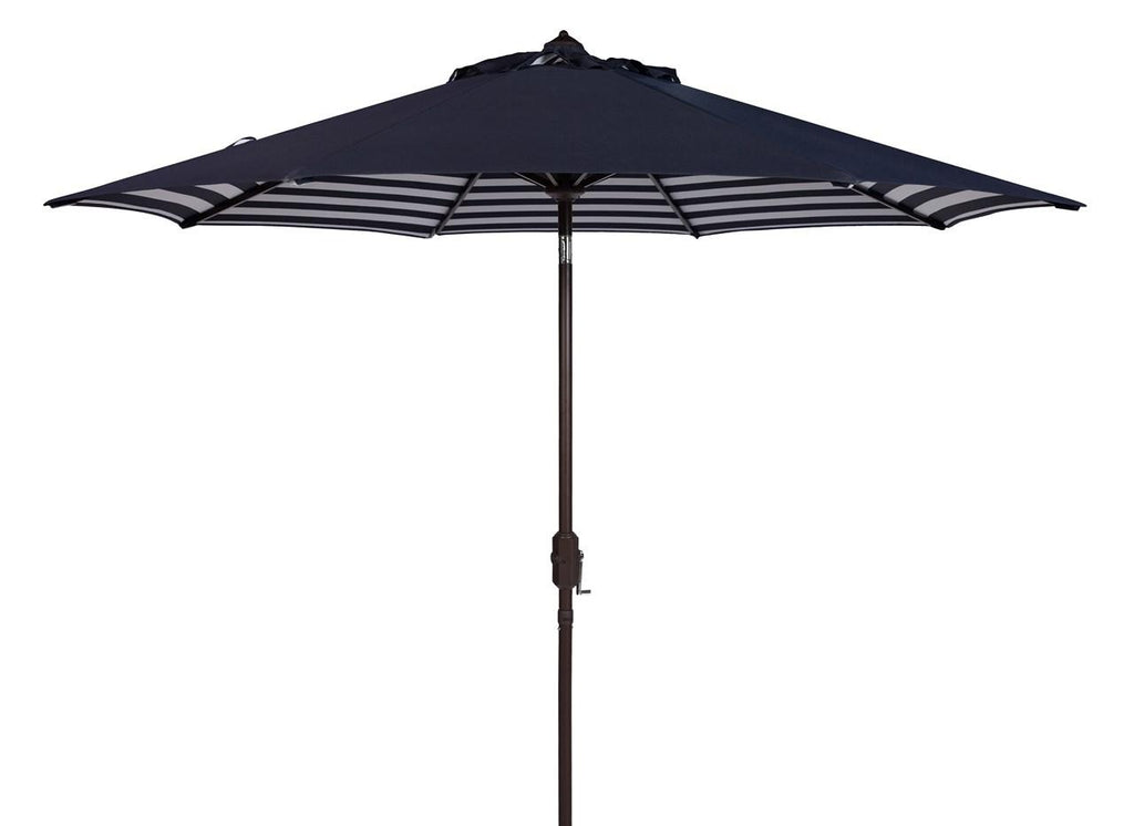Safavieh Athens Umbrella Inside Out Striped 9' Crank Outdoor Auto Tilt Navy White Brown Metal Hardwood Polyester Aluminum PAT8007A 889048314658