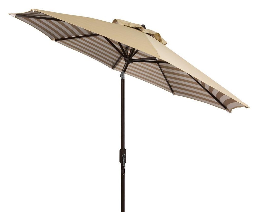 Safavieh Athens Umbrella Inside Out Striped 9' Crank Outdoor Auto Tilt Beige White Brown Metal Hardwood Polyester Aluminum PAT8007B 889048314665