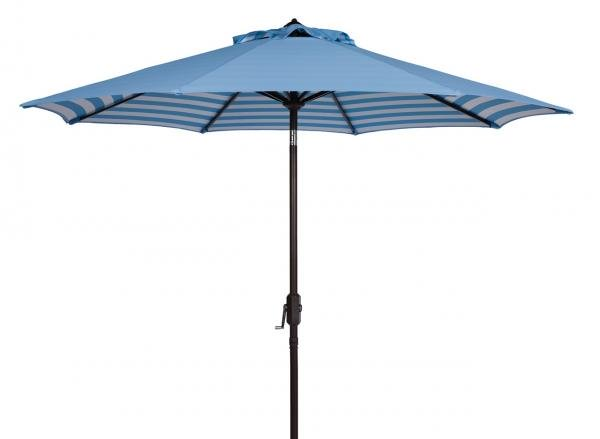 Safavieh Athens Umbrella Inside Out Striped 9' Crank Outdoor Auto Tilt Blue White Brown Metal Hardwood Polyester Aluminum PAT8007C 889048314672