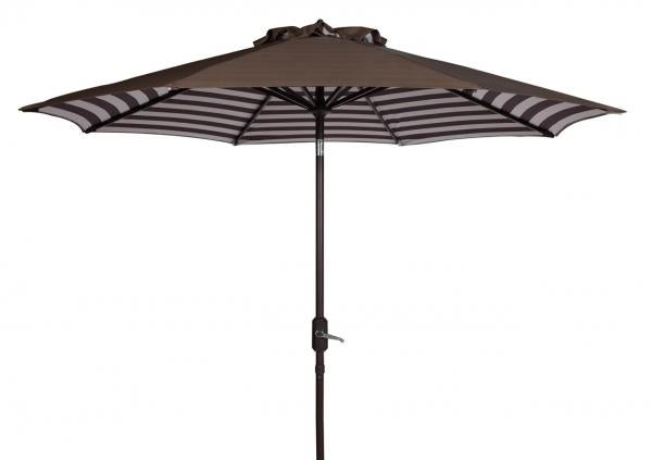 Safavieh Athens Umbrella Inside Out Striped 9' Crank Outdoor Auto Tilt Brown White Metal Hardwood Polyester Aluminum PAT8007D 889048314689