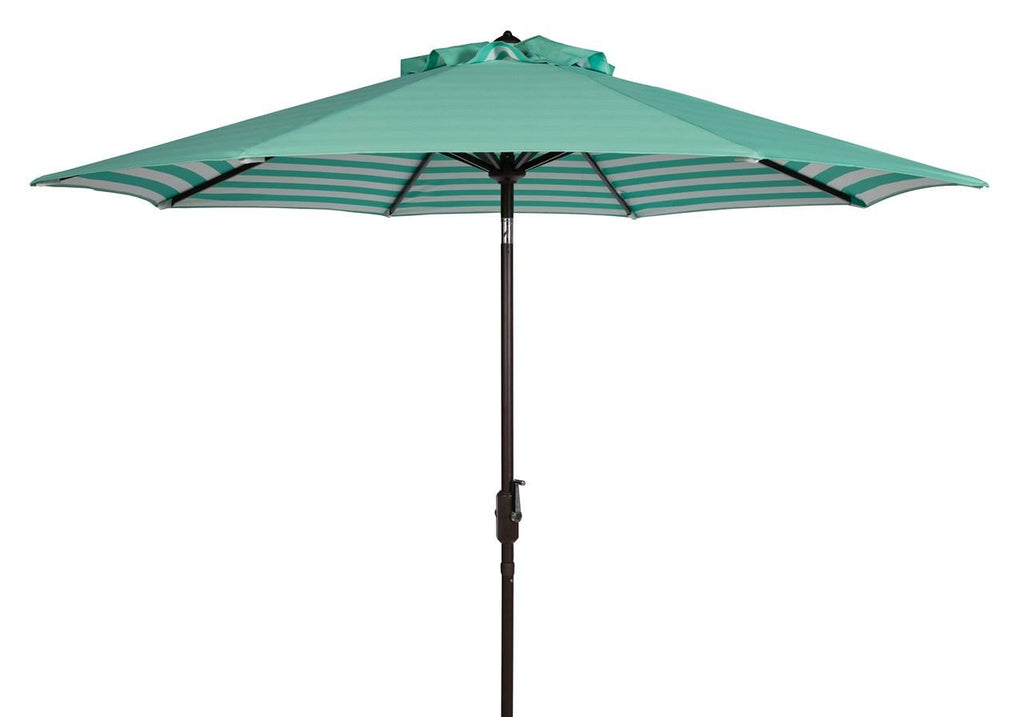 Safavieh Athens Umbrella Inside Out Striped 9' Crank Outdoor Auto Tilt Dark Green White Brown Metal Hardwood Polyester Aluminum PAT8007E 889048314696
