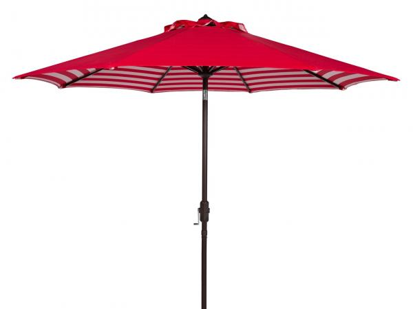 Safavieh Athens Umbrella Inside Out Striped 9' Crank Outdoor Auto Tilt Red White Brown Metal Hardwood Polyester Aluminum PAT8007F 889048314702