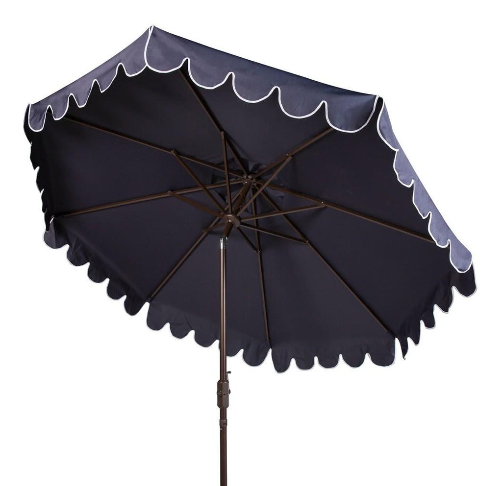 Safavieh Venice Umbrella Single Scallop 9' Crank Outdoor Auto Tilt Navy White Brown Metal Hardwood Polyester Aluminum PAT8010A 889048314870