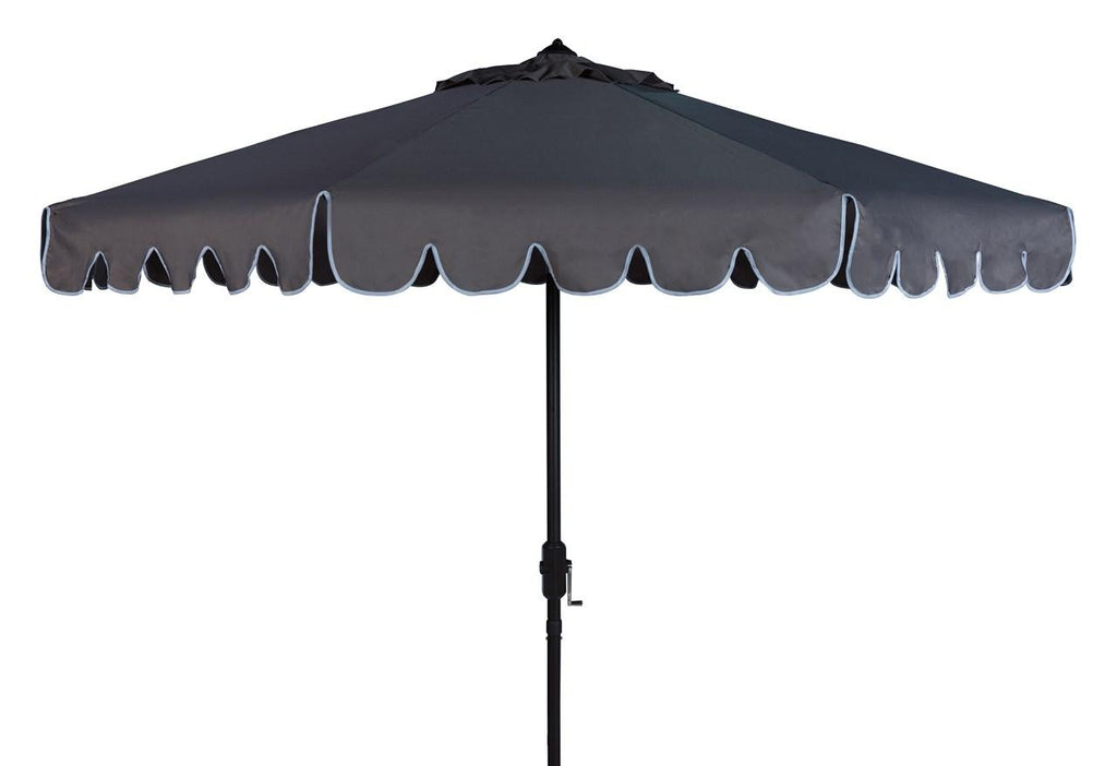 Safavieh Venice Umbrella Single Scallop 9' Crank Outdoor Auto Tilt Grey White Brown Metal Hardwood Polyester Aluminum PAT8010B 889048314887