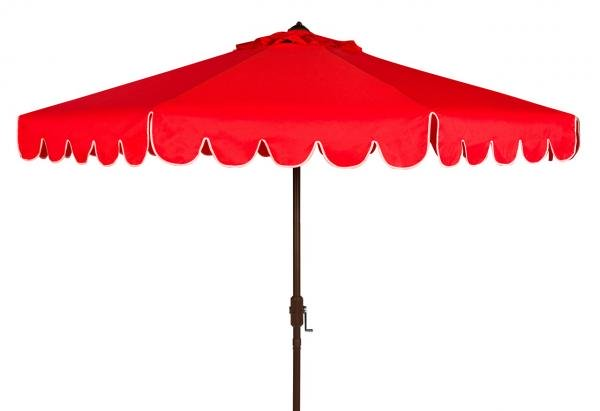 Safavieh Venice Umbrella Single Scallop 9' Crank Outdoor Auto Tilt Red White Brown Metal Hardwood Polyester Aluminum PAT8010C 889048314894
