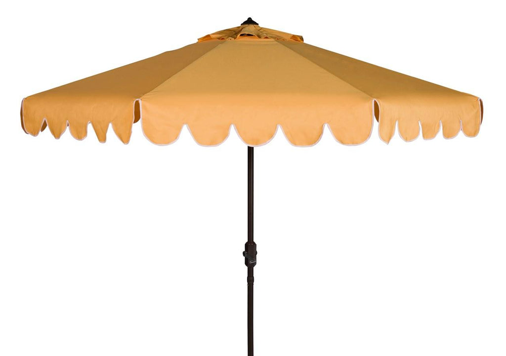 Safavieh Venice Umbrella Single Scallop 9' Crank Outdoor Auto Tilt Yellow White Brown Metal Hardwood Polyester Aluminum PAT8010D 889048314900