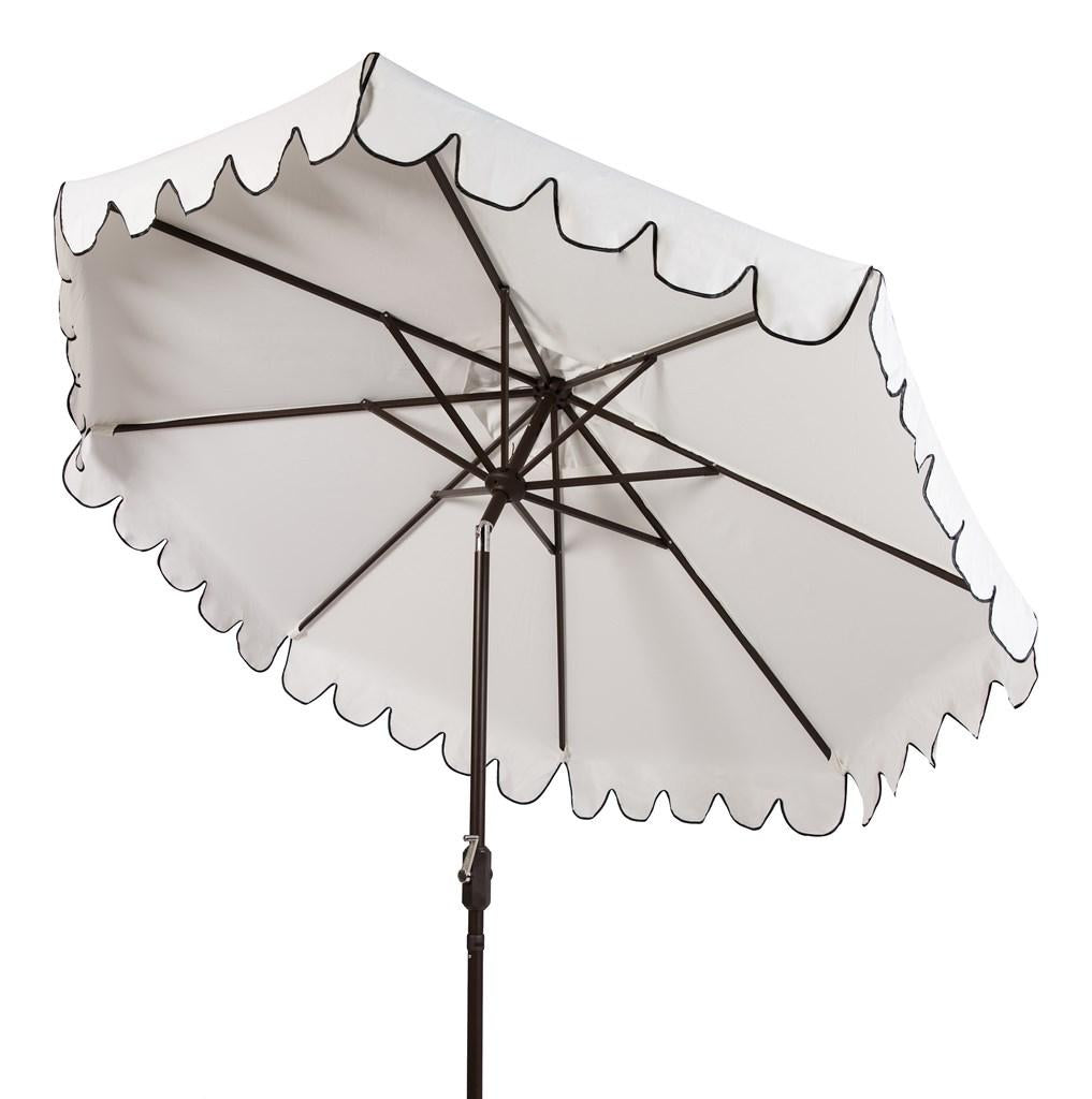 Safavieh Venice Umbrella Single Scallop 9' Crank Outdoor Auto Tilt White Black Brown Metal Hardwood Polyester Aluminum PAT8010E 889048314917