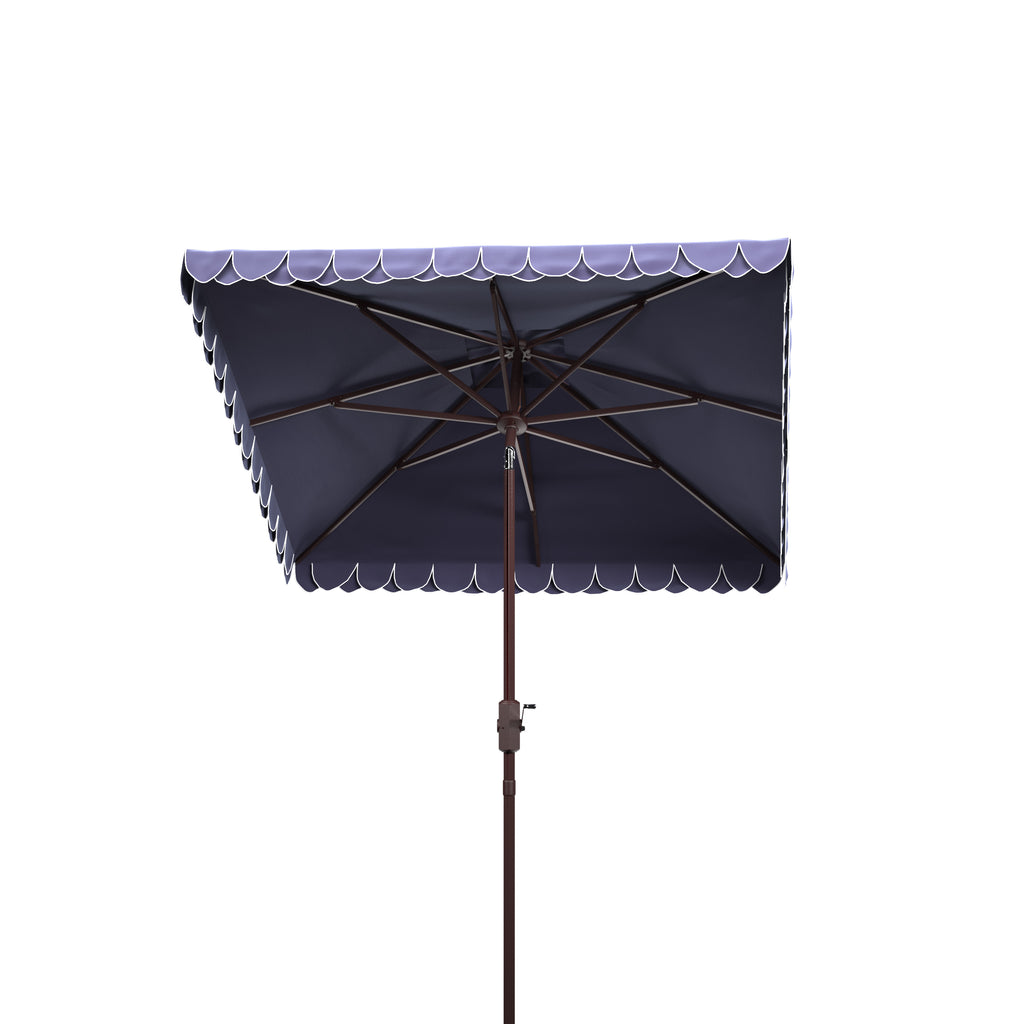 Safavieh Elegant 7.5' Square Umbrella in Navy and White PAT8406A 889048711068