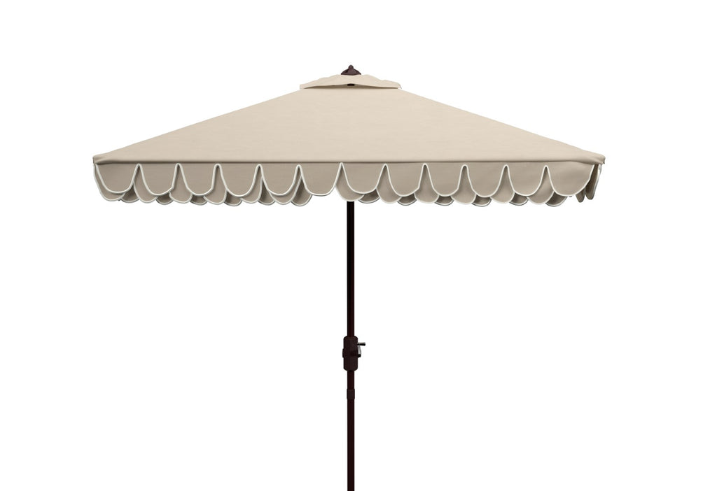 Safavieh Elegant 7.5' Square Umbrella in Beige and White PAT8406C 889048711075