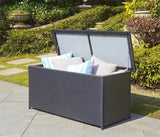 "Safavieh Cosima Storage Box 53"" 13 Gallon Outdoor Black PE Ratan Wood Steel PAT9002A 889048306165"