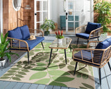 Safavieh Harrley 4Pc Living Set in Natural and Navy PAT9006B 889048729780