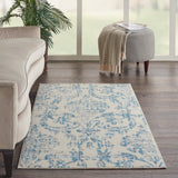 Jubilant JUB09 Power-loomed 100% Polypropylene Ivory Blue 3' x 5' Rectangle Rug