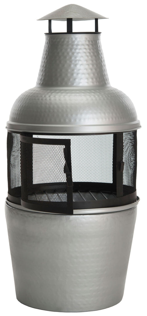 Safavieh Cartagena Chiminea Silver Black Hammered Iron PIT1001A 683726679585