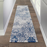 "Damask DAS06 Power Loomed 83% Polyester, 14% Cotton, 3% Rayon Ivory/Navy 2'3"" x 7'6"" Runner Rug"