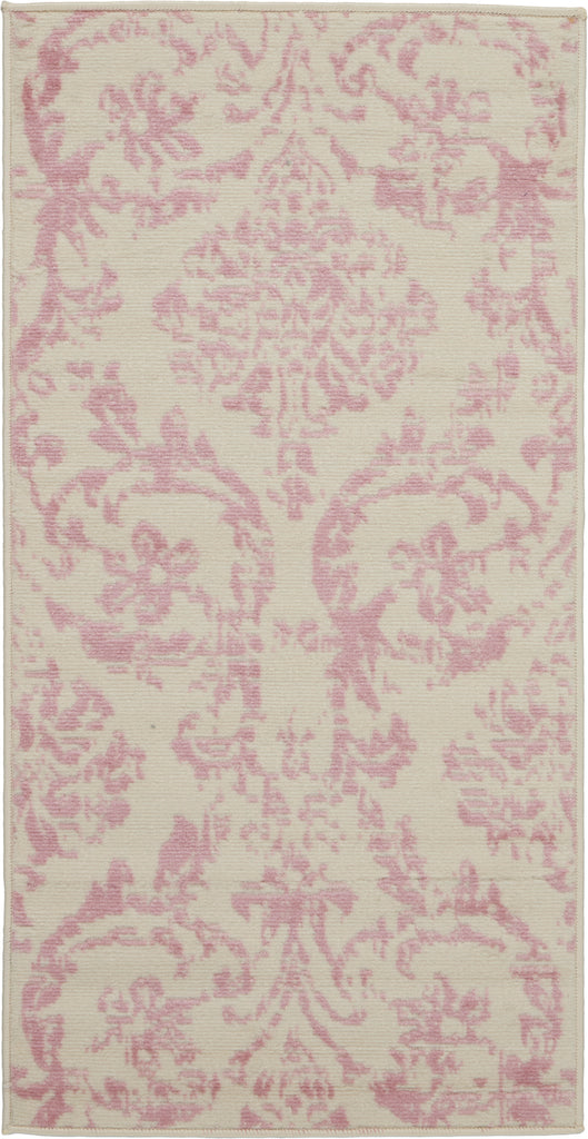 Jubilant JUB09 Power Loomed 100% Polypropylene Ivory/Pink 2' x 4' Rectangle Rug