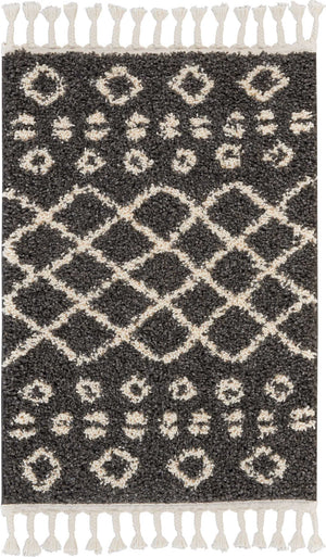 "Moroccan Shag MRS02 Power Loomed 100% Polypropylene Charcoal 2'2"" x 4' Rectangle Rug"