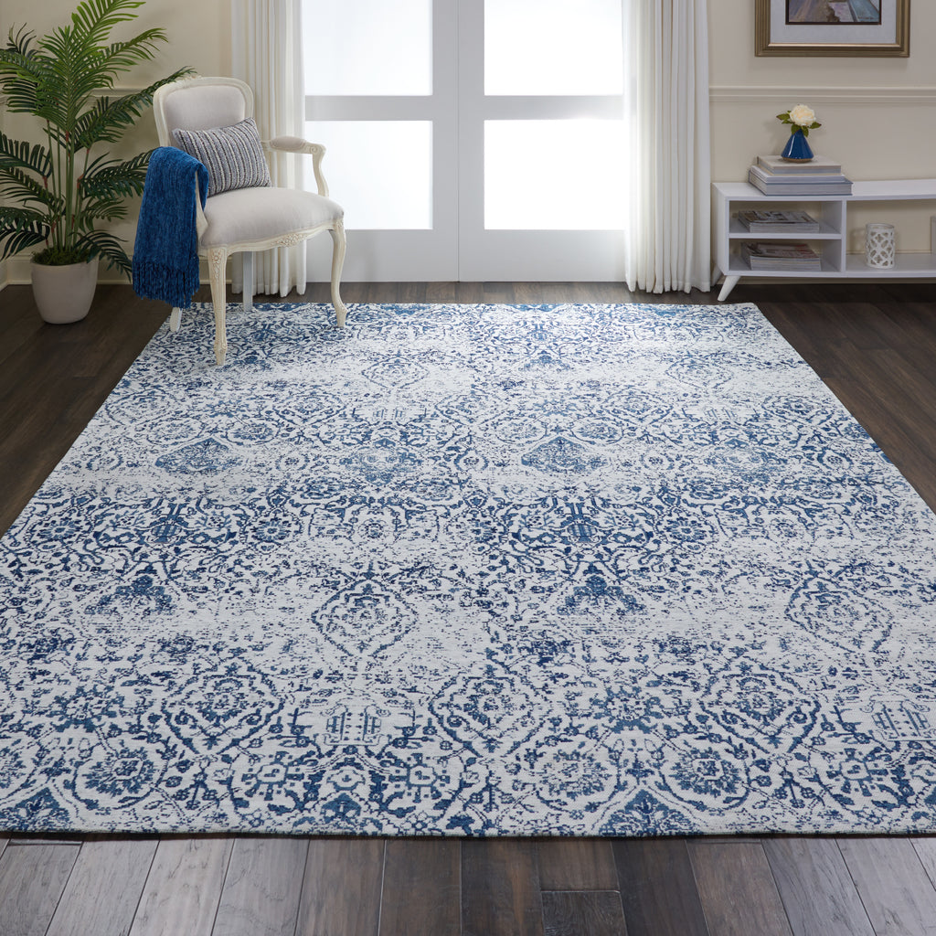 Damask DAS06 Power Loomed 83% Polyester, 14% Cotton, 3% Rayon Ivory/Navy 8' x 10' Rectangle Rug