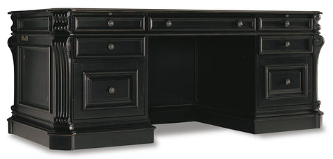 Hooker Furniture Telluride Traditional-Formal 76'' Executive Desk w/Leather Panels in Hardwood Solids with Cherry Veneers, Carved Leather, Nail head Trim & Glaze Hang-up with High Quality Bonded Leather 370-10-363